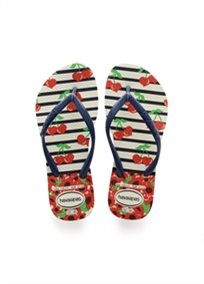 HAVAIANAS ילדים//  KIDS SLIM FASHION WHITE/NAVY BLUE