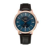 שעון יד אנלוגי לגבר ADI - רוזגולד עם לוח כחול