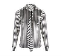 חולצה מכופתרת בהדפס פסים לנשים MORGAN - לבן/שחור