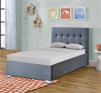 מיטת יחיד מרופדת עם ארגז מצעים מעץ דגם NOAM