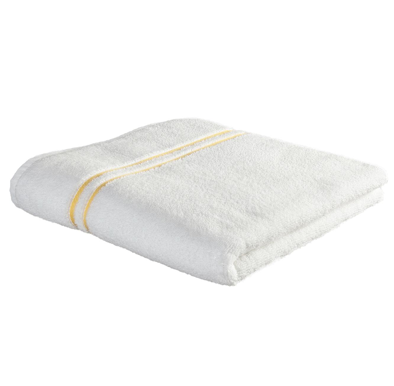 3 מגבות אמבט בעיטור פסים בצבע צהוב