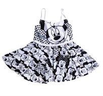 בגד ים חצאית שלם מיני מאוס לילדות - שחור לבן