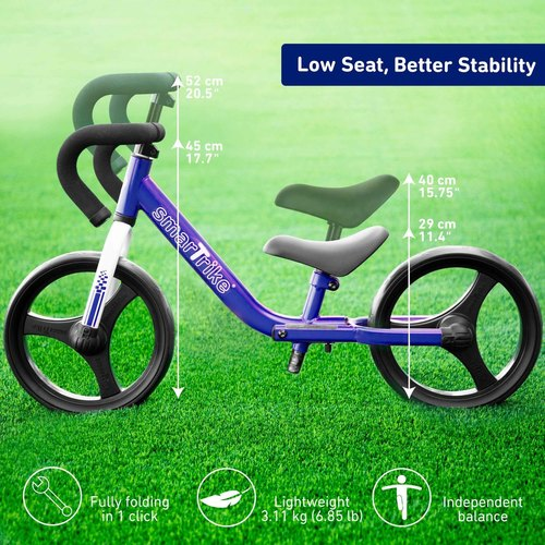 אופני איזון מתקפלים עם כיסא וכידון מתכווננים - כחול - תמונה 4