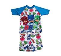 סט בגד ים שרוול קצר כוח פי ג'יי לילדים בצבע כחול/צבעוני