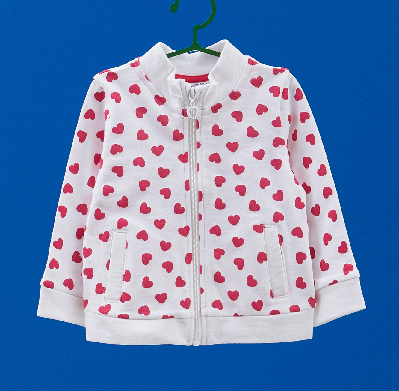 סווטשירט OVS לילדות  - לבן עם הדפס לבבות