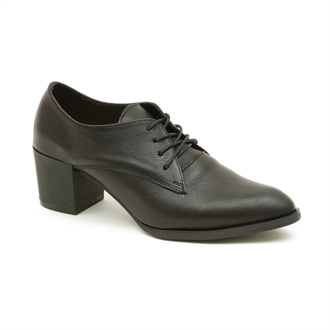 Seventy Nine - נעלי עקב אוקספורד עור בצבע שחור