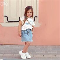 חליפת חצאית Oro לילדות (מידות 2-7 שנים) ג'ינס