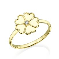 """טבעת יהלום """"לבבות"""" משובצת יהלום זהב צהוב"""