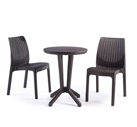 סט ישיבה כולל שני כיסאות ושולחן תואם מפלסטיק איכותי ועמיד דגם ביסטרו KETER - תמונה 2