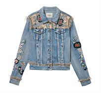 ג'קט ג'ינס לנשים בשילוב רקמה פרחונית ופאצ'ים Flowers & Pearls - כחול