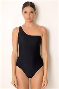בגד ים שלם בגזרה אסימטרית בצבע שחור
