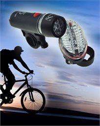 לרכיבה בטוחה! סט תאורה מלא - LED לאופניים, עם פנס קדמי ואחורי ותושבת מתכווננת, רק ₪29!