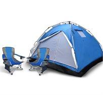 אוהל פתיחה מהירה ל-6 אנשים + זוג כיסאות קמפינג מתקפלים