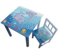 סט שולחן ושני כסאות מאוירים בשילוב עץ מלא לפעוטות וילדים, במגוון דגמים לבחירה