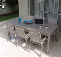 מערכת גן מפוארת emrald כוללת שולחן מלבני ענק מתאים לאירוח ו-4 כסאות אלומיניום מבית SCAB