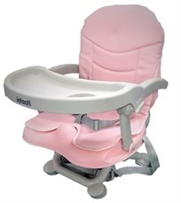 מושב הגבהה לתינוק גוסטו מתקפל עם מגש וריפוד שליף ורחיץ - ורוד