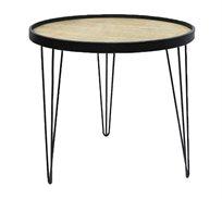 שולחן צד עגול בעיצוב מודרני לסלון או למשרד עם רגלי מתכת ומשטח עליון מעץ U DESIGN