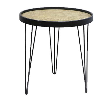 שולחן צד עגול בעיצוב מודרני לסלון או למשרד עם רגלי מתכת ומשטח עליון מעץ U DESIGN - תמונה 2