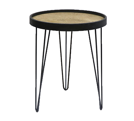 שולחן צד עגול בעיצוב מודרני לסלון או למשרד עם רגלי מתכת ומשטח עליון מעץ U DESIGN - תמונה 3