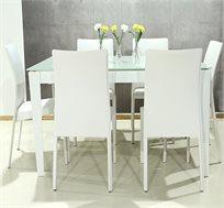 פינת אוכל משולבת מתכת וזכוכית הנפתחת לגודל של 3.80 מטר בארבעה שלבים לבחירתכם כולל 6 כסאות תואמים