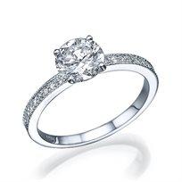 """טבעת אירוסין זהב לבן """"לורן"""" 0.71 קראט יהלומים"""