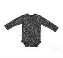 בגד גוף ארוך עם הדפס קונפטי בצבע אפור פחם
