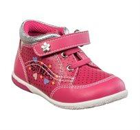 נעלי צעד ראשון לבנות דגם תומר נקודות בצבע פוקסיה