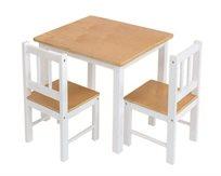 סט שולחן ו 2 כסאות מעץ מלא לילדים - טבעי / לבן