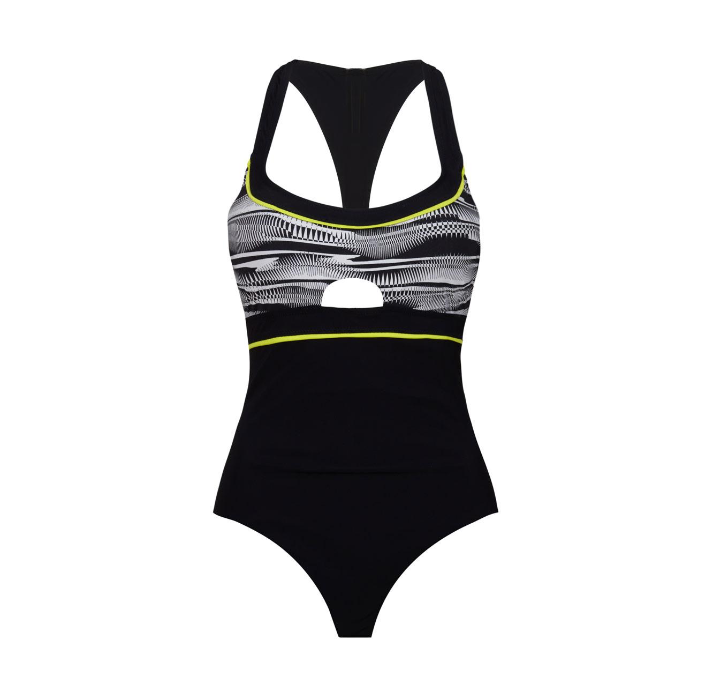 בגד ים שלם מקולקציית FREE BY GOTTEX - גרפיקה שחור ולבן עם קווי ניאון לימוני