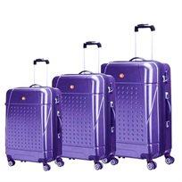 swiss travel סט 3 מזוודות קשיחות סגול