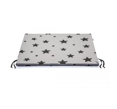 משטח החתלה BABY ROCK עם הדפס כוכבים שחורים - צבע אפור בהיר