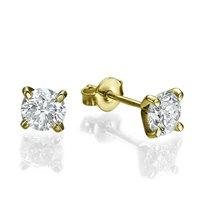 """עגילי יהלומים צמודים לאוזן """"סטאד"""" 0.40 קראט"""