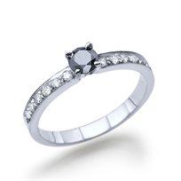 טבעת יהלום שחור 0.56 קראט מזהב לבן