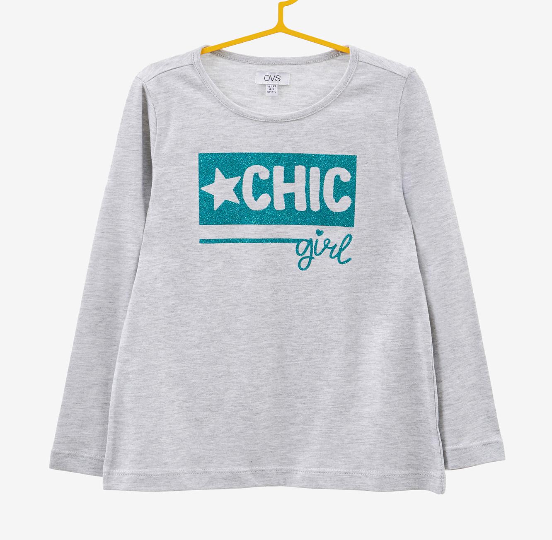 חולצה OVS לילדות עם שרוולים ארוכים - אפור בהיר