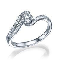 טבעת אירוסין סנדרה זהב לבן בעיצוב יוקרתי