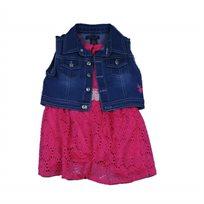 Us Polo יו אס פולו (12-6 שנים) שמלה תחרה ורוד פוקסיה עם ג'קט ג'ינס