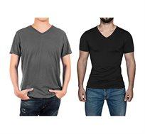 מארז ארבע חולצות טישירט יוניסקס - שחור/אפור