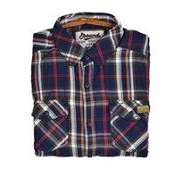 חולצת אריג לגבר E-bound שרוול ארוך - כחול כהה/אדום