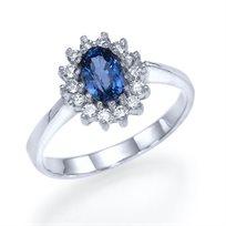 """טבעת אירוסין זהב לבן """"הנסיכה דיאנה"""" העיצוב המקורי של הנסיכה"""