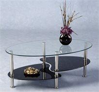 שולחן סלון מעוצב וחדשני בצורת אליפסה עם מדף תחתון מזכוכית מושחרת בשילוב מתכת