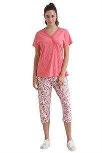 סט פיג'מה חולצה בחיתוך תחרה ומכנס פרחוני EXPOSE DREAMS לאישה בשני צבעים לבחירה
