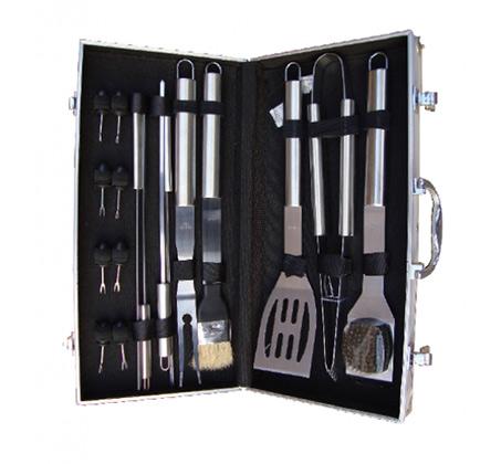 סט כלים לגריל 17 חלקים במזוודת אלומיניום