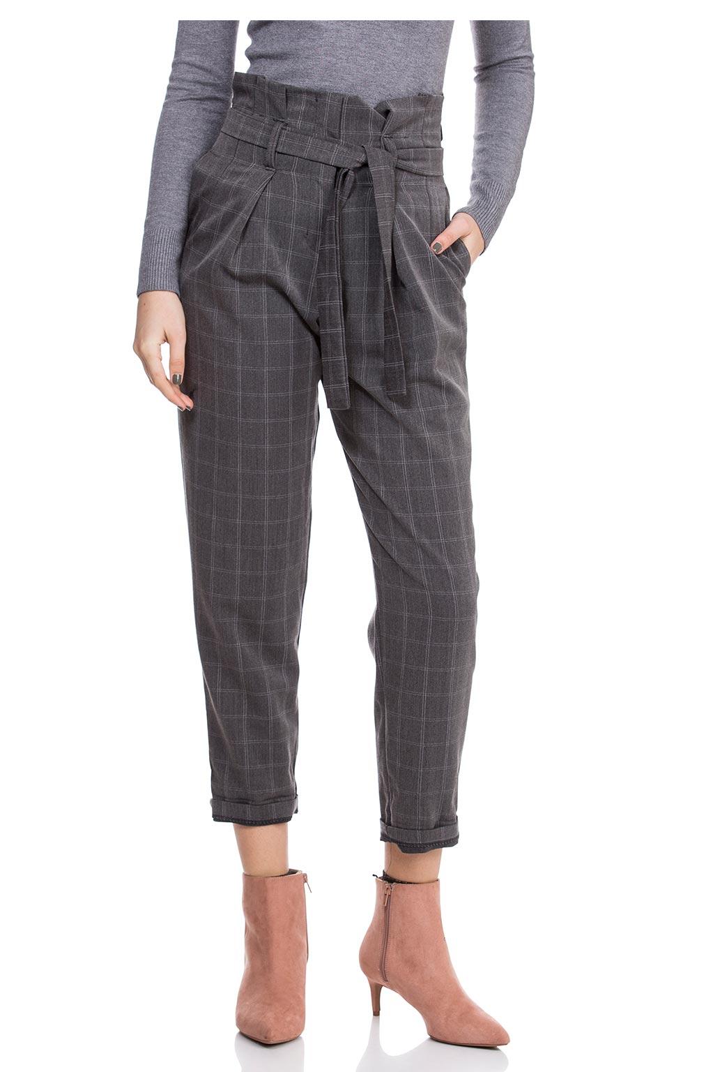 מכנס משובץ עם חגורת קשירה - אפור