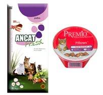 """מזון לחתול בוגר איי אן סי 15 ק""""ג + חטיף פרימיו מתנה"""