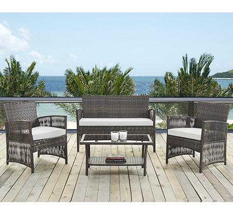 עודפים - ריהוט גינה מראטן סינטטי איכותי הכולל שולחן פלטת זכוכית, זוג כורסאות וספה דו מושבית Homax - תמונה 3