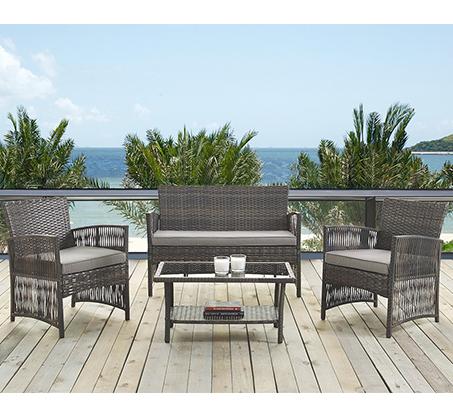 עודפים - ריהוט גינה מראטן סינטטי איכותי הכולל שולחן פלטת זכוכית, זוג כורסאות וספה דו מושבית Homax - תמונה 2