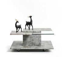 שולחן זכוכית ועץ לסלון במראה בטון בעיצוב מודרני ועכשווי