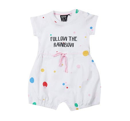 אוברול נקודות צבעוניות לתינוקות - לבן