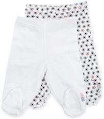 זוג רגליות לתינוק כותנה טריקו מידה 0-3 - לבן אדום