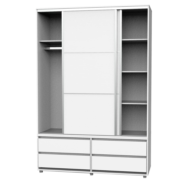 ארון בגדים בעל מדפים ומקום לתלייה, שתי דלתות הזזה טריקה שקטה וארבע מגירות רהיטי יראון - תמונה 2